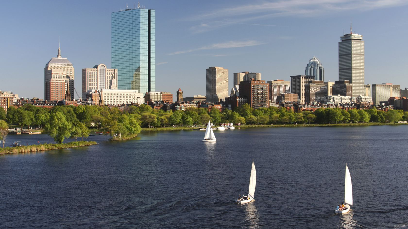 Charles River summer skyline in Boston Massachusetts near Inn at Longwood Medical Hotel