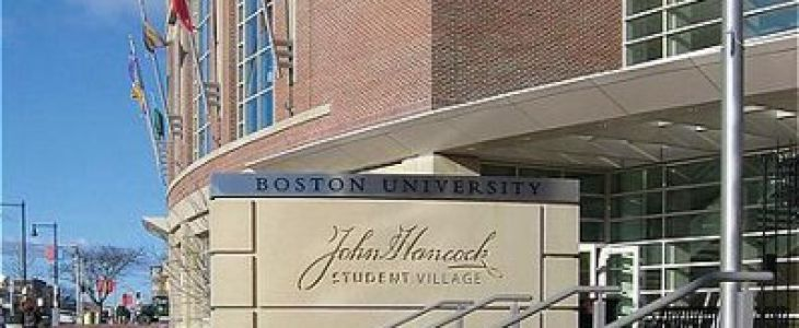 Boston University John Hancock student village sign