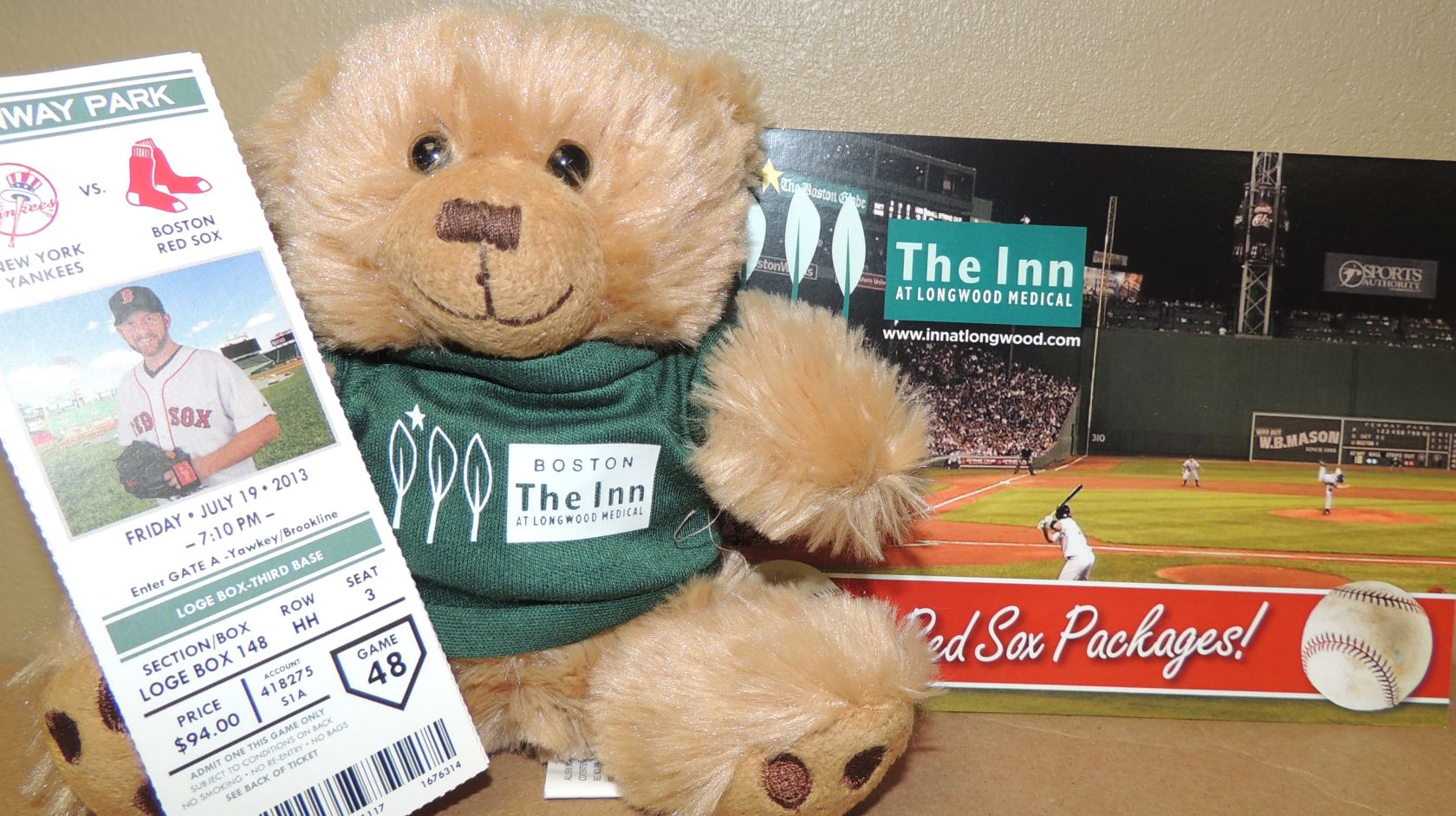 Hope the bear and baseball tickets promo for Inn at Longwood Medical in Boston