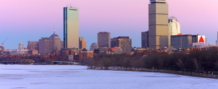 boston winter skyline, great view from the Inn at Longwood Medical in Boston
