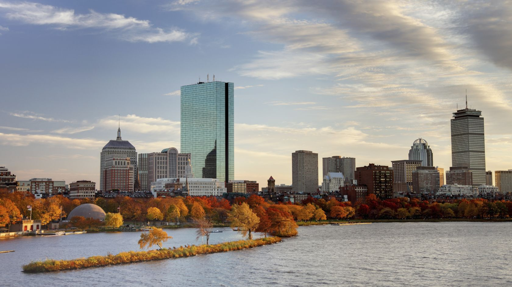 boston skyline during the fall